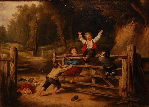 "Children playing on a farm in William Collins' nineteenth century painting ""The Old Farm Gate"""
